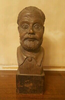 Hand Carved Wooden Bust Of Man