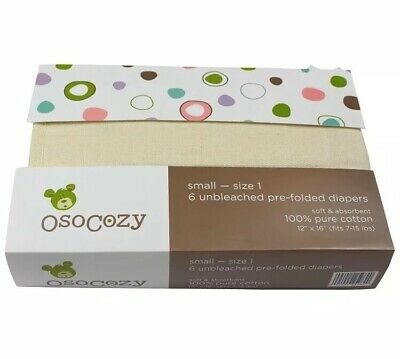 OsoCozy - Prefolds Unbleached Cloth Diapers, Size 1 (7-15lbs) 6 Pack 100% cotton