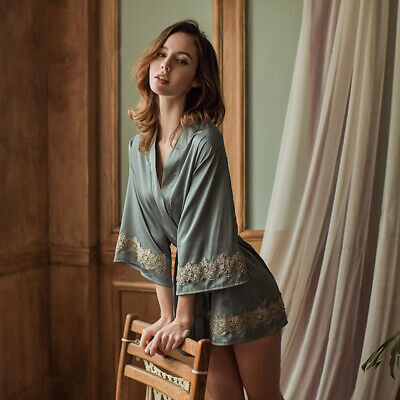 Women Satin Nightgown Nightdress Bathrobe Lace Floral Pajamas Sleepwear Sexy