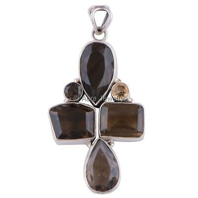 Solid 925 Sterling Silver Smoky Topaz, Citrine Gemstone Pendant Necklace P2009-2