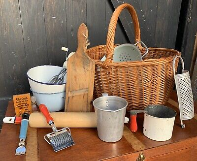 Vintage Wicker Grocery Basket Full Of A Job Lot Of Vintage Kitchenalia