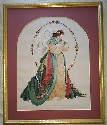Lavender Lace completed Cross Stitch Guardian Angel Framed and Matted
