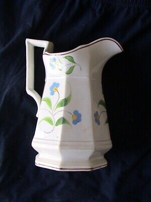 Antique (1852) Davenport English Pottery Pitcher (White with Blue Flowers)