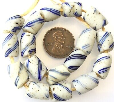 17 Amazing Venetian Antique rare Blue/white delft Wound African Trade beads