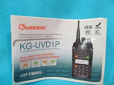 Wouxun KG-UVD1P KG-UV3D Radios Nifty Quick Reference Guide KG-UV2D