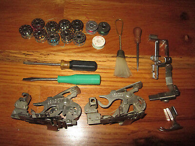 Vintage Sewing Machine Parts, Tools, Metal Bobbins, Punch, Screw Drivers, + More