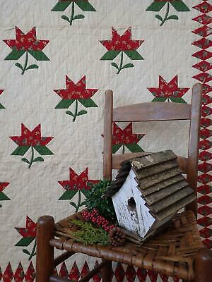 Gorgeous EARLY c1840 Antique Red Green Peony QUILT 94x85