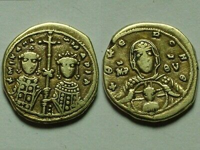 Rare ORIGINAL ancient BYZANTINE coin Trachy Michael VIII Paleologus 1261AD Cross