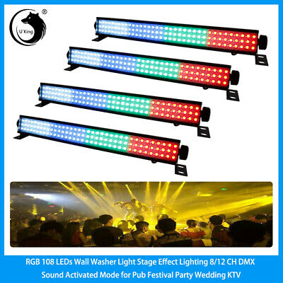 4PCS RGB Wall Wash Light 108 LED Stage Lighting DMX Voice Auto DJ Party Pub Club