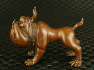 chinese old red copper hand casting bulldog statue collectable noble ornament