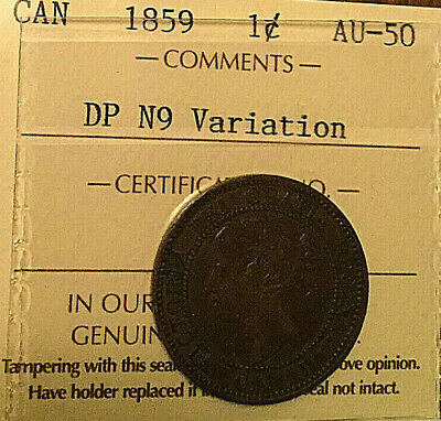 1859 CANADA LARGE CENT PENNY - ICCS AU-50 - Dp N9 variation
