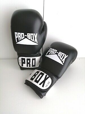 Pro Box Leather Boxing Sparring Gloves Black and white 16oz