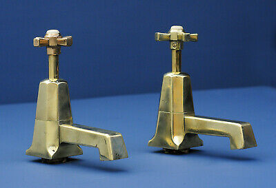 Vintage ART DECO Shanks bath taps - HUGE - solid brass - genuine antique faucet
