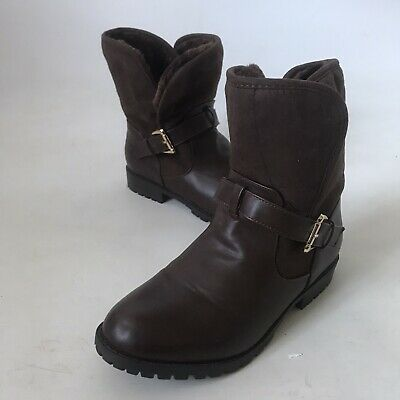 Matalan Girls Boots Brown Faux Leather Fleece Lined Flat Gold Buckle UK 5 38