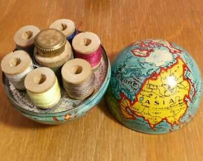 Antique German Enamel Globe World Atlas Etui Compendium Sewing Kit tin vintage