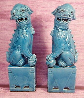 Foo Dogs Chinese Turquoise Blue Ceramic Large 10 Inch Vintage Asian Statues Pair