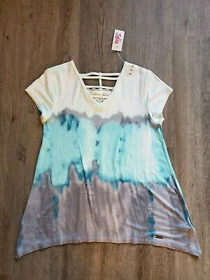 NWT Justice For Girls Shirt Size 10 gray aqua ivory lace v- neck NEW spring