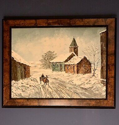 Vintage David Crespi Oil Painting of Americana Winter Scene Free Shipping Framed