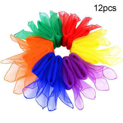 EB/_ 12× Candy Color Square Artificial Silk Dance Scarves Magic Juggling Props N