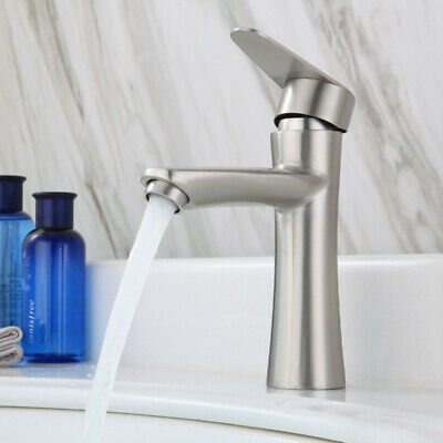 Kitchen Bathroom Basin Faucet Single Handle/Hole Brushed Hot Cold Mixer Sink Tap