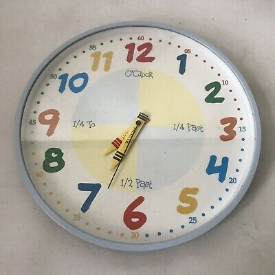 Widdop Bingham Childrens Tell The Time Wall Clock Round Wall Hanging Bright W12""