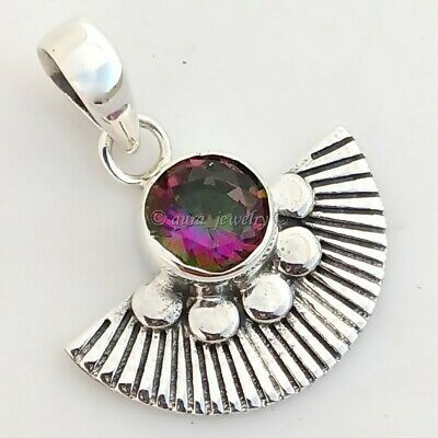 Rainbow Mystic Quartz Gemstone 925 Sterling Silver Textured Pendant Gift For Her