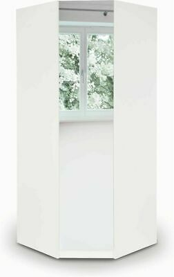 Modern White Mirrored Large Corner Wardrobe Easy Assemble 2 Hanging Rail 2 Shelf