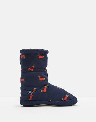 Joules 125047 Girls Fluffy Slipper Sock in FRENCH NAVY SAUSAGE DOGS