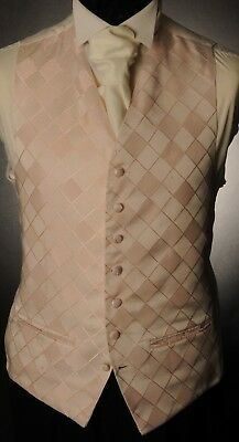 Cw23. Mens/Boys Baby Pink Diamond Waistcoat / Dress/ Suit / Party / Formal