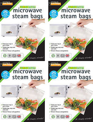 100 x Microwave Steam Steamer Bags Large Size Bags Healthy Cooking by Toastabags