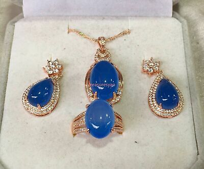 Natural blue Chalcedony Jade Gemstone Necklace Pendant Earrings Ring Set