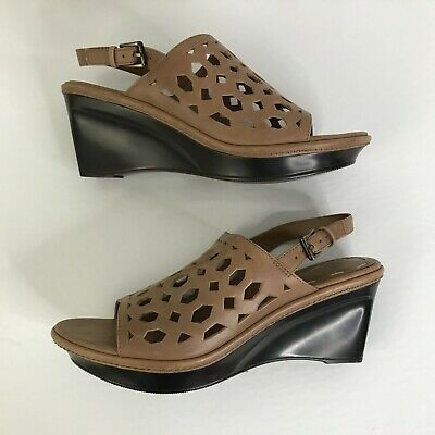B Makowsky Send Brown Leather Cutout Wedge Slide Sandals New