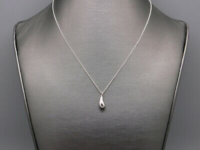 Tiffany & Co Elsa Peretti Sterling Silver Tear Drop Necklace 16 inch