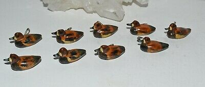 9 Vtg Artisan Hand Carved Miniature Wooden Ducks Decoys Buttons Pins
