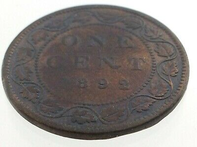 1892 Canada One 1 Cent Penny Copper Canadian Circulated Victoria Coin M596