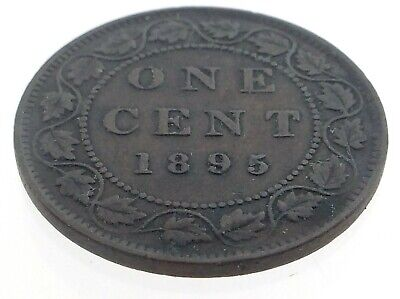 1895 Canada One 1 Cent Penny Copper Canadian Circulated Victoria Coin M599