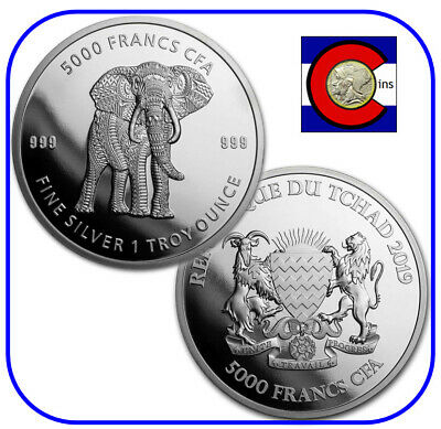2019 Republic of Chad 1 oz Silver Mandala Elephant Coin in capsule