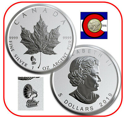 2019 Canada Phonograph Privy Maple Leaf Reverse Proof Silver Coin in capsule