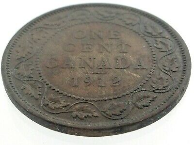 1912 Canada One 1 Cent Large Penny Copper Canadian Circulated George V Coin M600