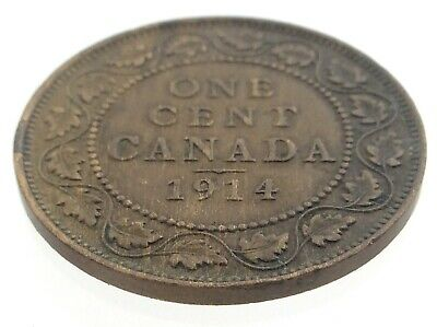 1914 Canada One 1 Cent Large Penny Copper Canadian Circulated George V Coin M602