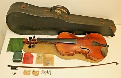 Antique P.E. Heberlein Violin 1927 Germany Stradivarius Copy + Bow and Case