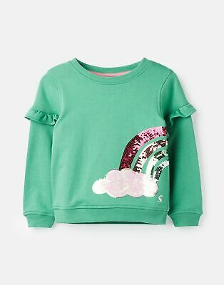 Joules Girls Tiana Sweatshirt 3 12 Years in GREEN SEQUIN RAINBOW