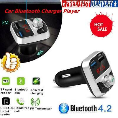 Wireless InCar Bluetooth FM Transmitter MP3 Radio Adapter Car USB Fast Charge