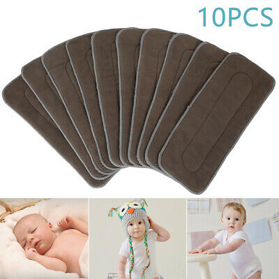 10x Reusable Washable Inserts Boosters Liners For Real Pocket Cloth Nappy Bamboo
