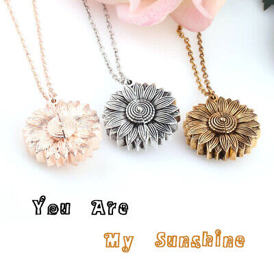 Men Clavicular Chain Open Locket You Are My Sunshine Sunflower Pendant Necklace