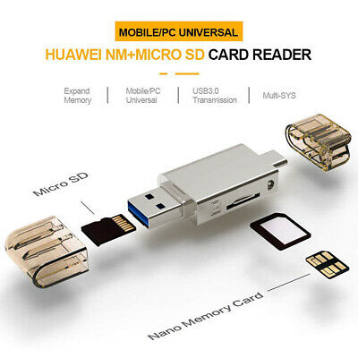 2 in 1 Type-C USB3.0 To Micro-SD/NM Card Reader for Mobile/PC Use Nano
