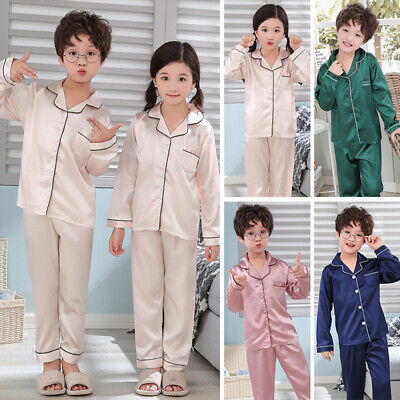 Girls Boys Silk Satin Pyjamas Set Kids Children Homewear Sleepwear Long-Sleeve