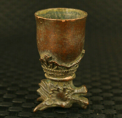 rare old bronze hand carving dragon statue wine glass cup noble collectible