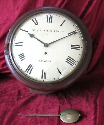 Quality & Early Fusee Convex Dial Clock. Rare 11in Version