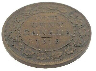 1919 Canada One 1 Cent Large Penny Copper Canadian Circulated George V Coin M609